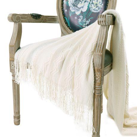 Woven Cream Throw Blanket with Tasseled Trim | Walmart Canada