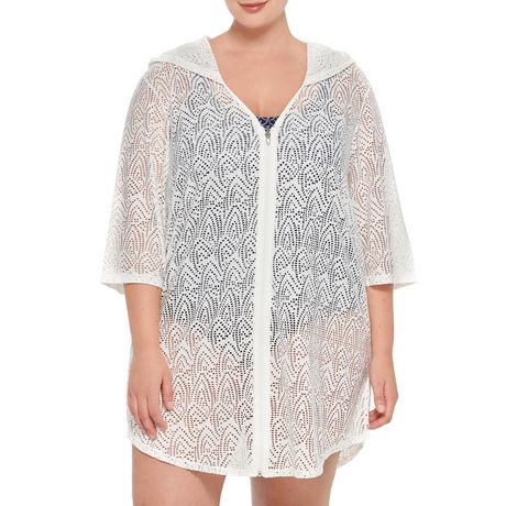 Krista Plus Hoodie Crochet Cover-up - image 1 of 2