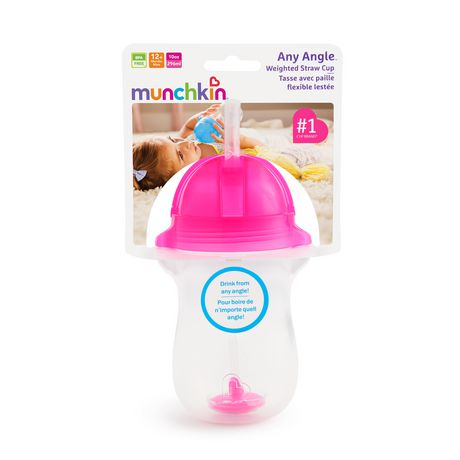 Munchkin 10oz Any Angle™ Weighted Straw Cup (pink) - image 3 of 3