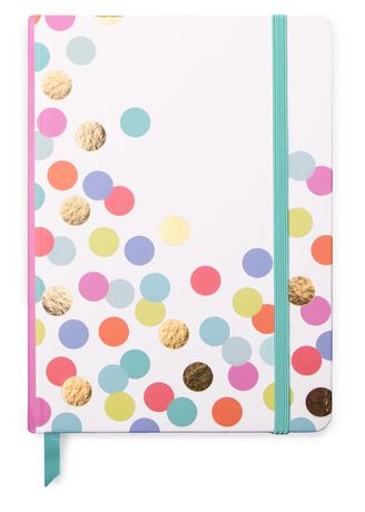 Medium marble journal from Designworks INK with white cover decorated in multi-coloured circles