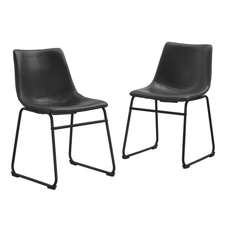 Walker Edison Black Faux Leather Dining Kitchen Chairs