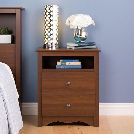 table de chevet haute 2 tiroirs monterey de prepac en fini cerisier avec compartiment ouvert. Black Bedroom Furniture Sets. Home Design Ideas