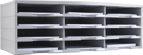 Storex 12-Compartment Literature Organizer/Document Sorter, Grey - image 4 of 6