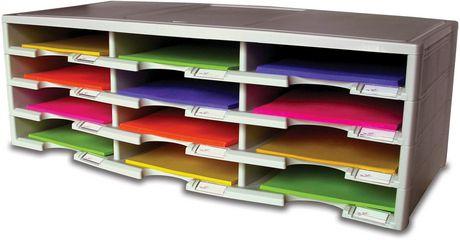 Storex 12-Compartment Literature Organizer/Document Sorter, Grey - image 5 of 6