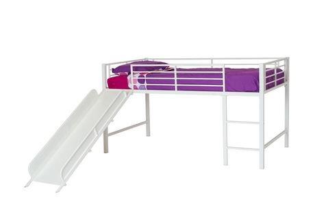 dhp lit mezzanine jumeau avec toboggan pour enfants blanc walmart canada. Black Bedroom Furniture Sets. Home Design Ideas