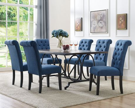 Set De Salle A Manger 7 Pieces Indira Table 6 Chaises Blue