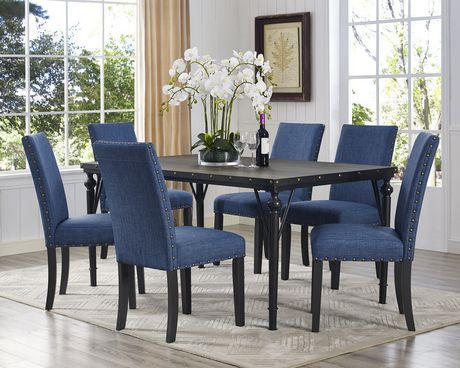 Set De Salle A Manger 7 Pieces Indira Table 6 Chaises Bleu