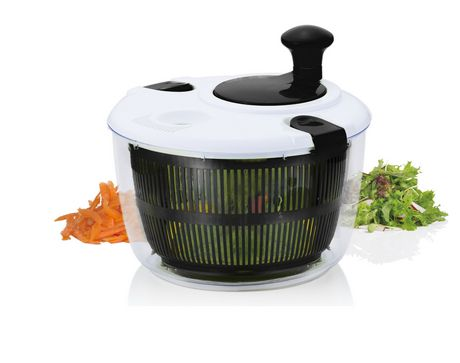 Black and white salad spinner with clear bowl showing black interior from Brilliant