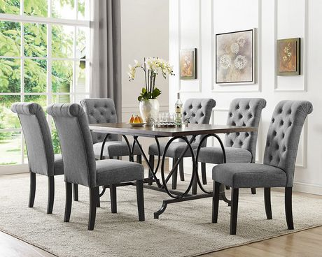 Brassex Inc Soho 7 Piece Dining Set, Table + 6 Chairs, Grey