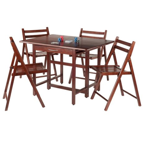 Winsome Taylor 5 Piece Set Drop Leaf Table With 4 Folding Chairs