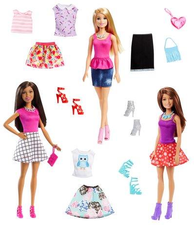 barbie fashionistas coffret de 3 poup es et accessoires coffret n 2 walmart canada. Black Bedroom Furniture Sets. Home Design Ideas