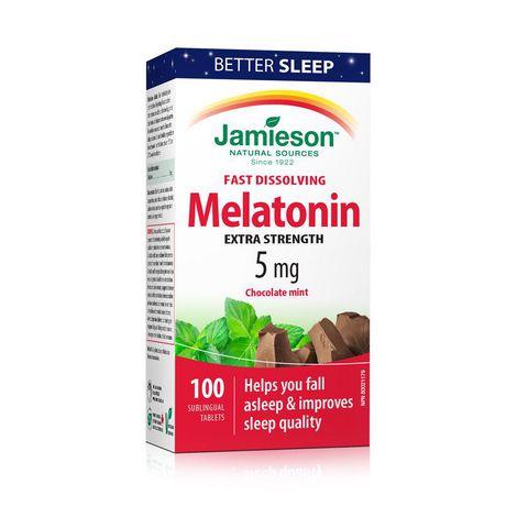 Jamieson Melatonin Fast Dissolving Chocolate Mint Tablets, 5 mg - image 1 of 7