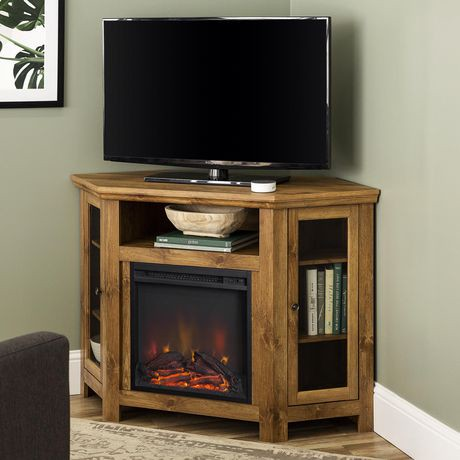 Walker Edison Barnwood Wood Corner Fireplace Media Tv Stand Console