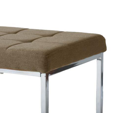 Banc large rectangulaire huntington de corliving en tissu brun avec base chro - Achat de tissus en ligne canada ...