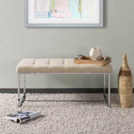 Banc large rectangulaire huntington de corliving en tissu beige avec base chr - Achat de tissus en ligne canada ...