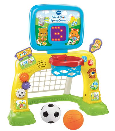 Yellow, green and blue portable basketball and soccer net game made by VTech