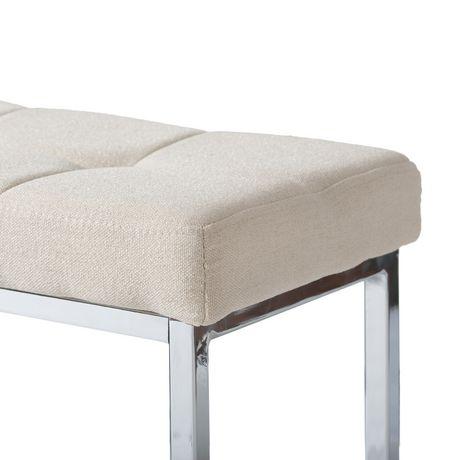 CorLiving Huntington Chrome Base Rectangular Fabric Bench - image 3 of 5