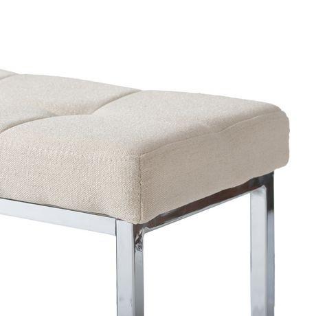Banc rectangulaire huntington de corliving en tissu beige avec base chrom e - Achat de tissus en ligne canada ...