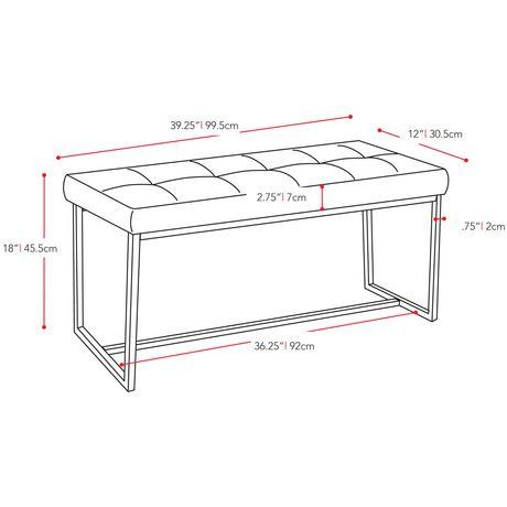 CorLiving Huntington Chrome Base Rectangular Fabric Bench - image 5 of 5