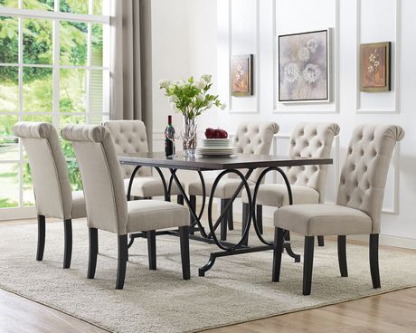 Brassex Inc Soho 7 Piece Dining Set, Table + 6 Chairs, Beige