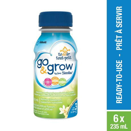 Go & Grow by Similac Step 3 Ready-To-Use Toddler Formula, 6 x 235 mL, Vanilla Flavour - image 1 of 7