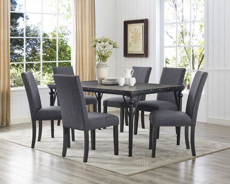 Arianna 7 Piece Dining Set Table 6 Chairs Grey Walmart Canada