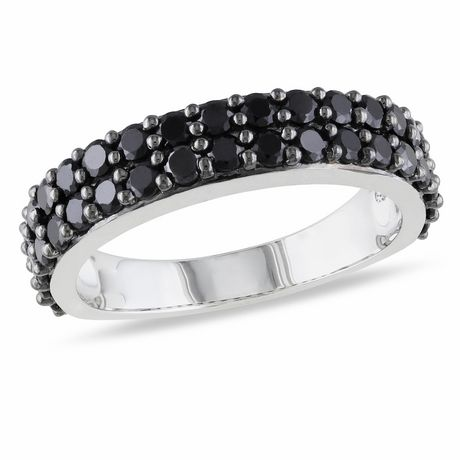 Asteria 1-1/5 Carat T.G.W. Black Spinel Sterling Silver Semi-Eternity Anniversary Ring - image 1 of 4