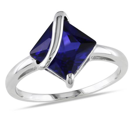 Tangelo 2-4/5 Carat T.G.W. Square-Cut Created Blue Sapphire Sterling Silver Cocktail Ring - image 1 of 5