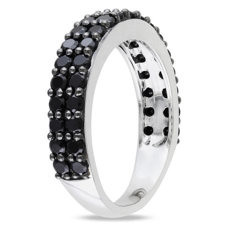 Asteria 1-1/5 Carat T.G.W. Black Spinel Sterling Silver Semi-Eternity Anniversary Ring - image 2 of 4