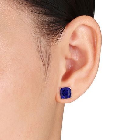 Tangelo 6 Carat T.G.W. Cushion-Cut Created Blue Sapphire Sterling Silver Solitaire Stud Earrings - image 3 of 4