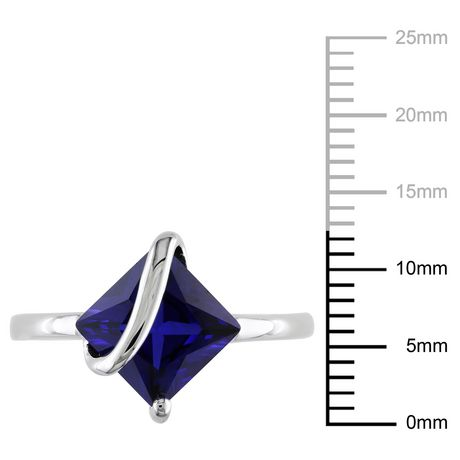 Tangelo 2-4/5 Carat T.G.W. Square-Cut Created Blue Sapphire Sterling Silver Cocktail Ring - image 3 of 5