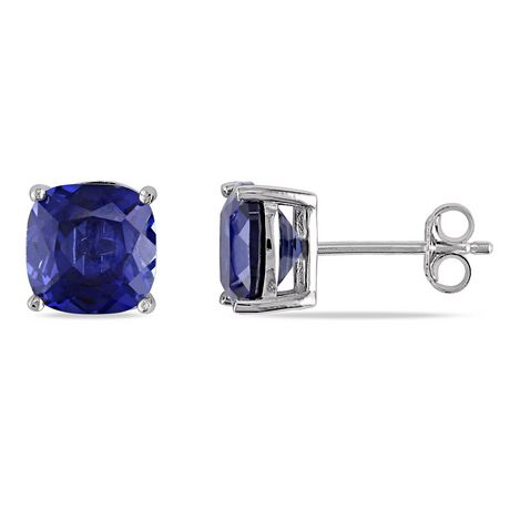 Tangelo 6 Carat T.G.W. Cushion-Cut Created Blue Sapphire Sterling Silver Solitaire Stud Earrings - image 1 of 4