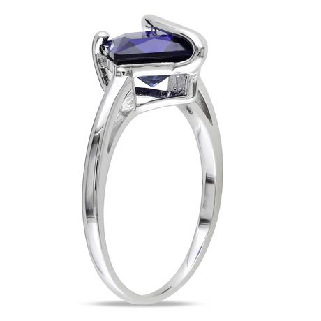 Tangelo 2-4/5 Carat T.G.W. Square-Cut Created Blue Sapphire Sterling Silver Cocktail Ring - image 2 of 5