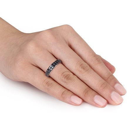 Asteria 1-1/5 Carat T.G.W. Black Spinel Sterling Silver Semi-Eternity Anniversary Ring - image 4 of 4