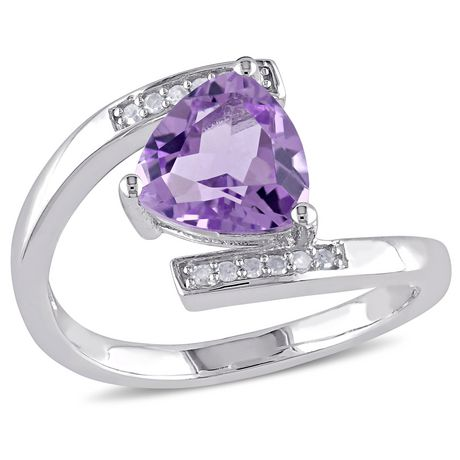 4b1f70f55430a Tangelo 1-2/5 Carat T.G.W. Amethyst And Diamond-Accent Sterling Silver  Bypass Ring