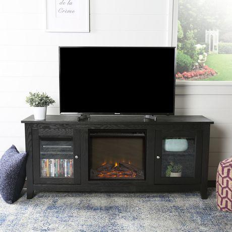console pour m dia de t l vision en bois de walker edison en noir avec chemin e. Black Bedroom Furniture Sets. Home Design Ideas
