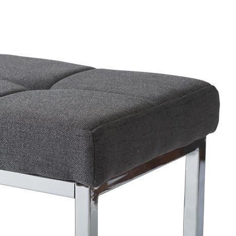 Banc rectangulaire huntington de corliving en tissu gris avec base chrom e - Achat de tissus en ligne canada ...