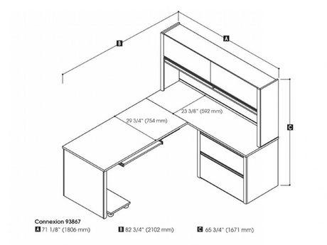 Bestar Connexion Poste de travail en L avec un caisson surdimensionné - image 5 de 5