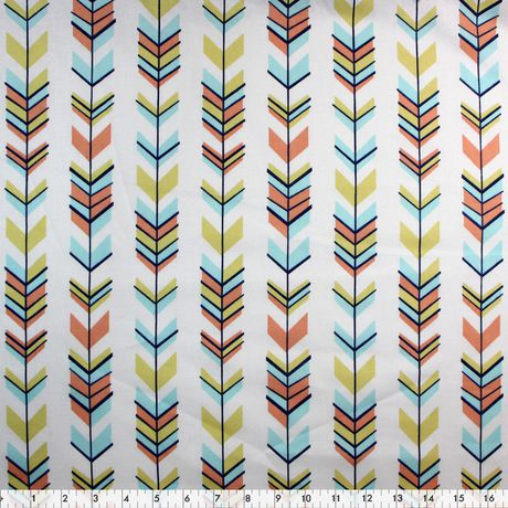 Fabric By The Metre - Fabric Creations Cotton - White Feather & Arrow - image 1 of 1