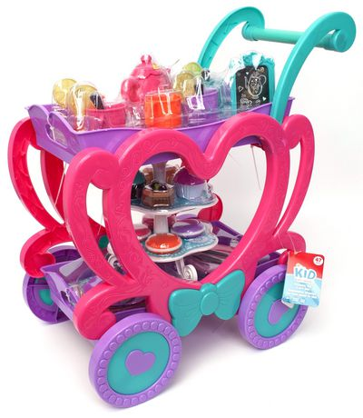 Turquoise, pink and purple plastic tea cart toy with heart-shaped sides, made by Kid Connection
