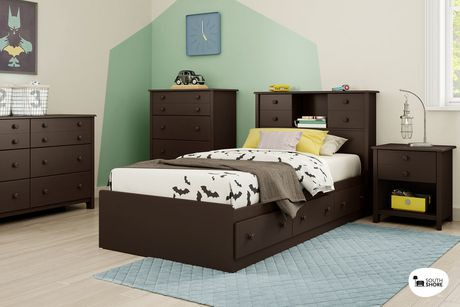 t te de lit biblioth que simple avec portes coulissantes little smileys de south shore walmart. Black Bedroom Furniture Sets. Home Design Ideas