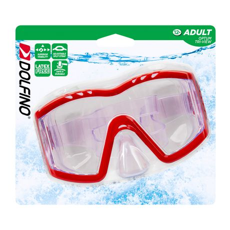 Dolfino Adult Optium Triview Red Swim Mask - image 4 of 4
