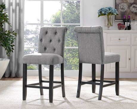 Soho Tufted 24 Bar Stool Set Of 2 Grey Walmart Canada