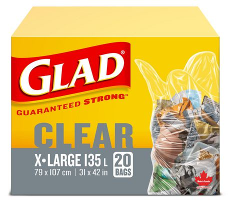 Glad 174 Easy Tie 174 Clear Garbage Bags Extra Large Walmart
