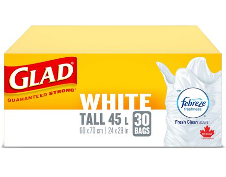 Glad White Garbage Bags Tall 45 Litres Febreze Fresh Clean Scent 30 Trash Bags