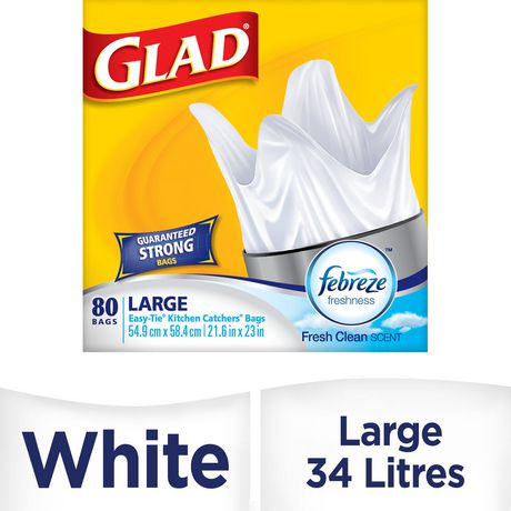 Glad Easy Tie Kitchen Catchers Garbage Bags Large