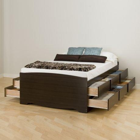 base de lit capitaine haute de prepac avec rangement de 12 tiroirs pour lit double walmart canada. Black Bedroom Furniture Sets. Home Design Ideas