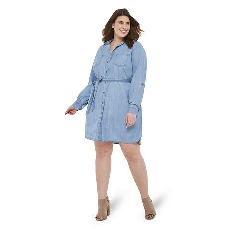 George Plus Women's Denim Dress - image 1 of 6