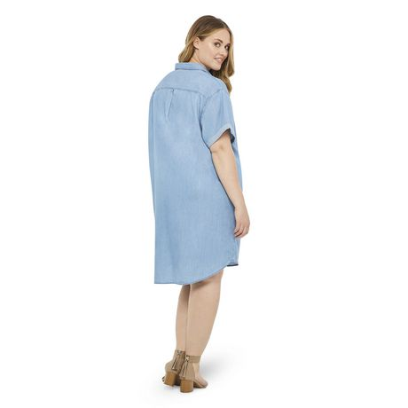 George Plus Women's Denim Shift Dress  - image 3 of 6