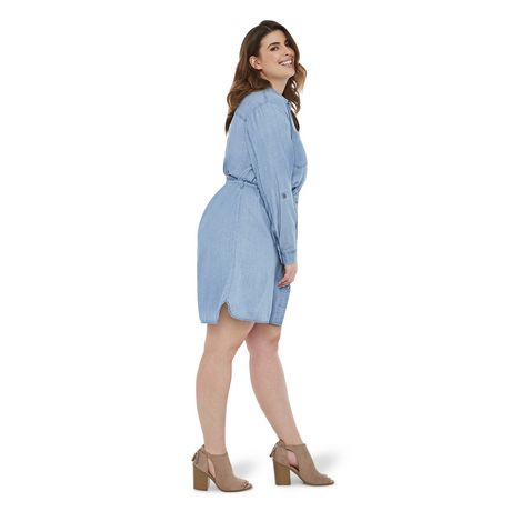 George Plus Women's Denim Dress - image 2 of 6